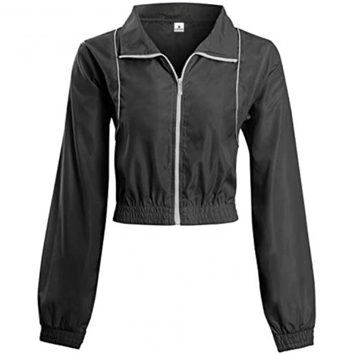Wholesale Cheap New Fashion Contrast Zip Crop Jacket Gym Fitness Running Workout Blank Black Tracksuits for Women Sportsfore