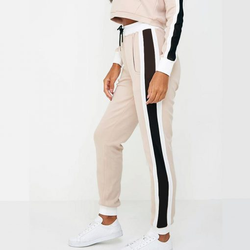 Women Cheap Fashion Trend Side Stripe Panel Crop Top Tracksuits Sportsfore