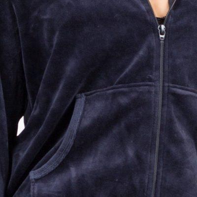 Women Custom Cheap Plain Blank Blue Velour Tracksuit with Hoodie Sportsfore