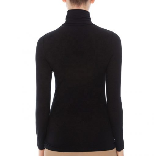 Women Dry Fit Black Blank Plain Turtleneck Long Sleeve T-shirt Sportsfore