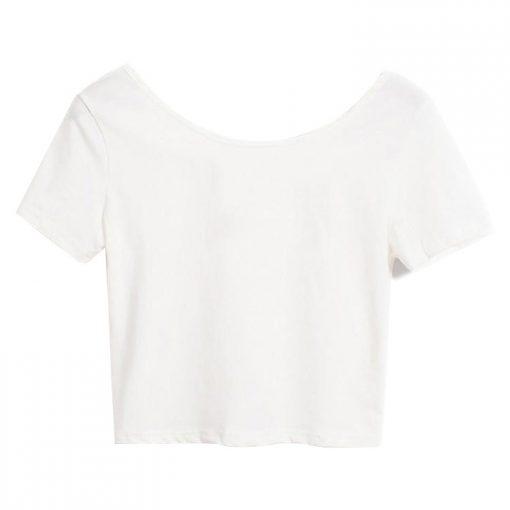 Woman Fashion Short Sleeve U Neck Crop Top Stretch Plain Blank T shirts Sportsfore