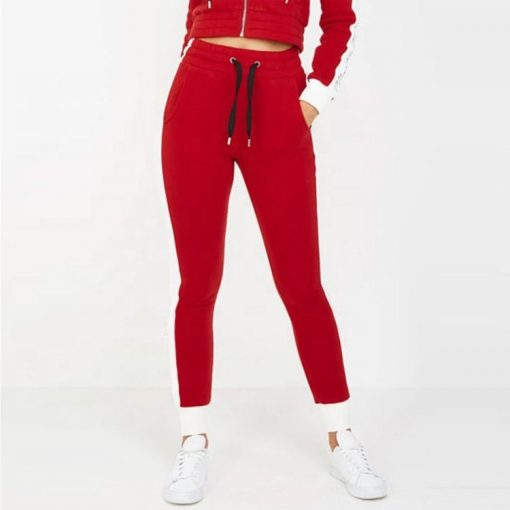 Women Contrast Side Panel Zip up Crop Hoodie Winter Tracksuit Set Sportsfore