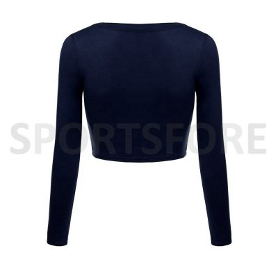 Latest Fashion Athletic Long Sleeve Round Neck Plain Blank Crop Tops for Women Sportsfore