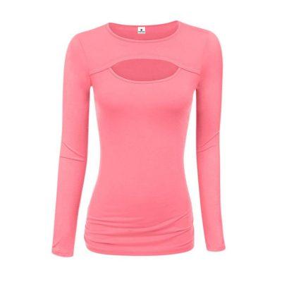 Women's Latest Fashion Trend Keyhole Cut Long Sleeve Blouses Sportsfore