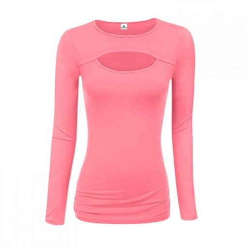 Women's Latest Fashion Trend Keyhole Cut Long Sleeve Blouses Sportsfore