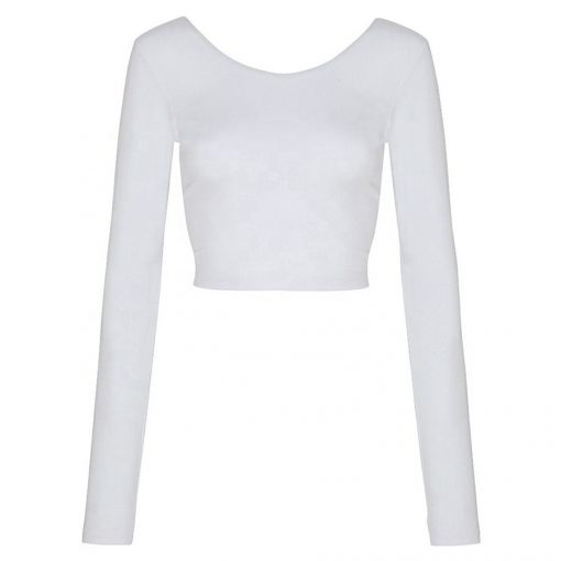 Latest Fashion Trendy Blank Long Sleeve Thumb Hole Plain Crop Tops for Women Sportsfore