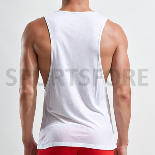 Wholesale Custom Casual Summer Sports Gym Weightlifting Running Fitness Workout Blank Low Cut Singlet Tank Top Vest for Men Sportsfore