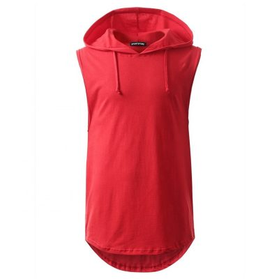 Wholesale Men Longline Muscle Gym Fitness Sleeveless T shirt with Hood Sportsfore