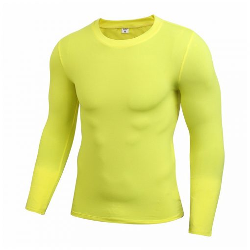 Quick Dry Men Fitness Compression Long Sleeve Baselayer Muscle Fit Gym T shirt Sportsfore
