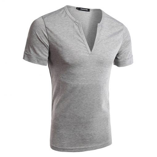 Men's New Fashion Trend Short Sleeve V Neck T-shirts Sportsfore