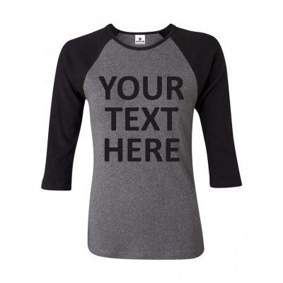 Women Custom Print 3/4 Raglan Sleeve Fitness Workout Gym Spandex T shirt Sportsfore