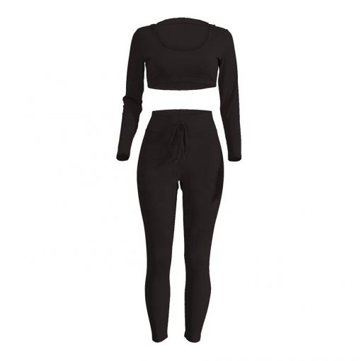 Women Fashion Trend 2 Pieces Training Jogging Fitness Jumpsuit Set with Hood Sportsfore