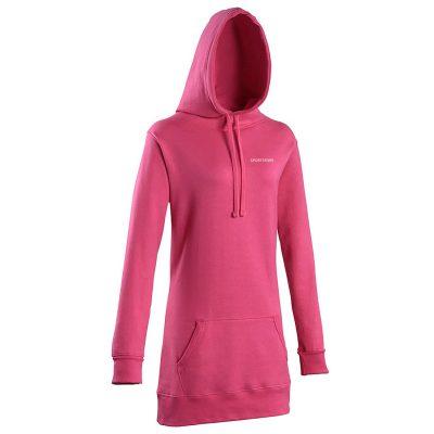 Womens Fashion Pullover Oversized Long Sleeve Plain Blank Longline Hoodie T-shirt Dress Sportsfore
