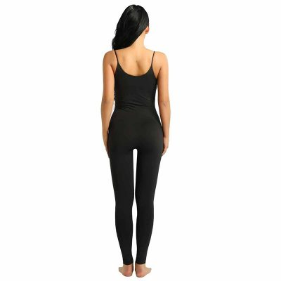 Spaghetti Strap Sleeveless Leotard Bodysuit Stretchy Tank Yoga Gym Dance Black Jumpsuit for Women Sportsfore