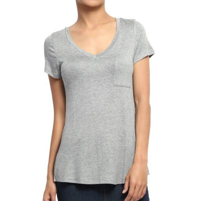 Women's Short Sleeve Loose Fit V Neck Plain Blank White T shirt with Pocket Sportsfore