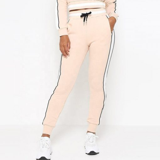 Girls Contrast Side Stripe Crop Hoodie Beautiful Tracksuit Sportsfore
