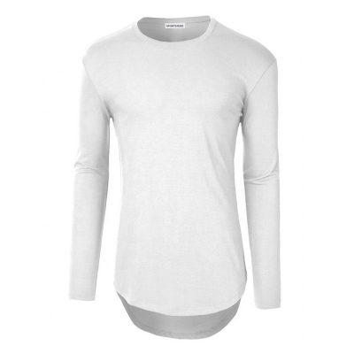 Mens Streetwear Fashion Crewneck Plain Long Sleeve Longline Curved Hem T-shirts Sportsfore