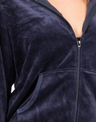 Women Ladies Custom Blank Blue Velour Tracksuit Sportsfore