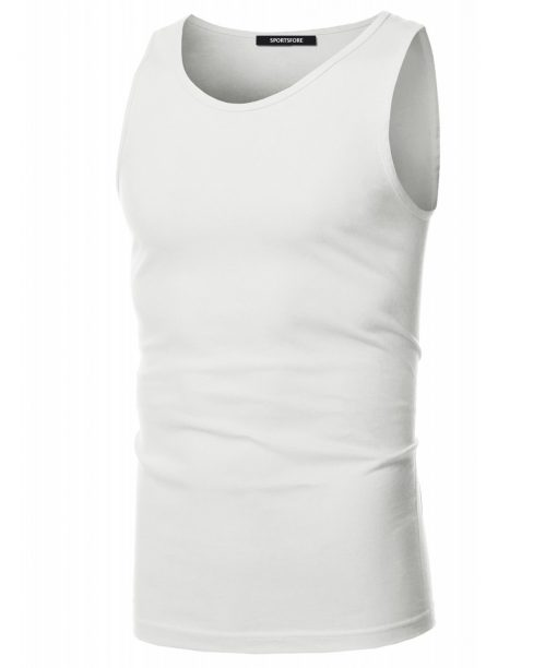 Men's Sleeveless Round Neck Fitness Ggym Workout Plain Blank T shirt Sportsfore