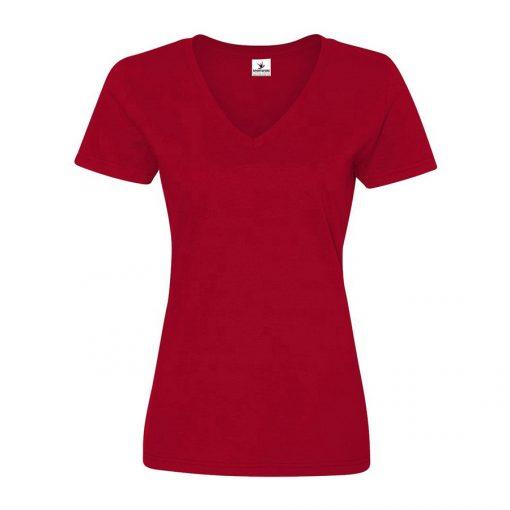 Women's Short Sleeve V Neck Plain Blank White Cotton T shirts Ladies Sportsfore