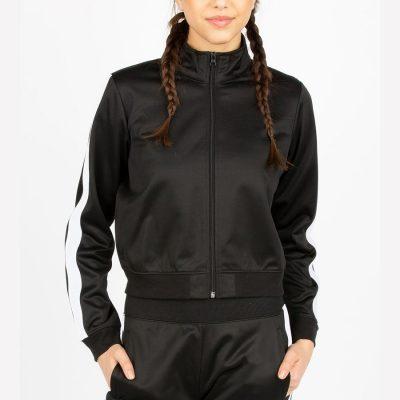 Women Fashion Side Stripe Winter Sports Running Zip up Crop Jacket Sportsfore
