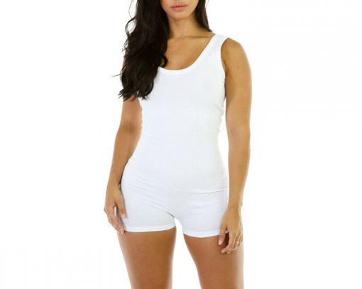 Womens Short Romper Jumpsuit Leotard Sleeveless Stretch Blouse Slim Bodysuit Sportsfore