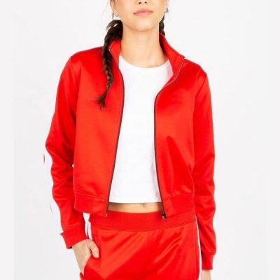 Trendy Fashion Side Stripe Zip up Winter Sports Crop Black Jacket for Ladies Sportsfore