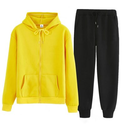 Custom Casual Workout Zipper Hooded Jacket Tracksuit Set for Ladies Sportsfore
