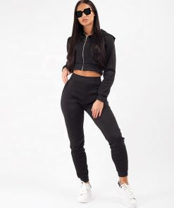 Ladies New Fashion 2 Pieces Loungewear Fleece Jogger Zip Crop Hooded Jacket Tracksuit Set Sportsfore