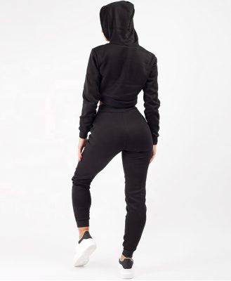 Ladies New Fashion 2 Pieces Loungewear Fleece Jogger Zip Crop Hooded Jacket Tracksuit Set Sportsfore