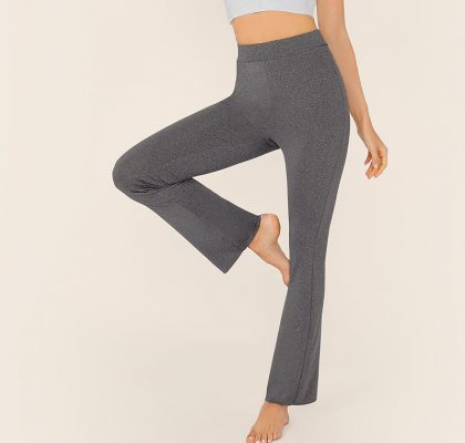 Ladies Sporty High Waist Wide Waistband Solid Heather Grey Pants Sportsfore