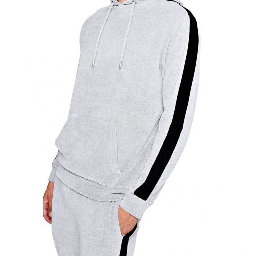 Men's Custom White Velour Plain Hoodie Tracksuit with Side Stripes Sportsfore