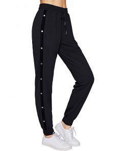 Stylish Side Buttons Drawstring Waist Casual Sports Workout Yoga Active Black Joggers for Women Sportsfore