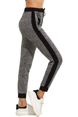 Women Casual Stylish Drawstring Waist Side Stripe Sports Workout Yoga Active Jogger Pants with Pocket Sportsfore