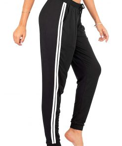 Women Custom Workout Jogger Stripe Side Drawstring Lightweight Joggers Yoga Striped Sweatpants Sportsfore