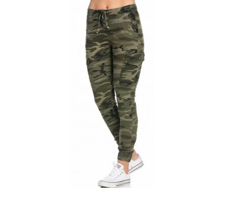 Women Drawstring Camouflage Cargo Jogger Pants Sportsfore