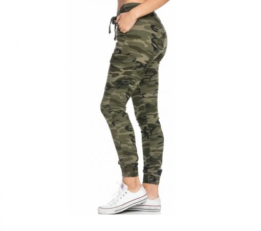 Women Drawstring Camouflage Cargo Jogger Pants Sportsfore