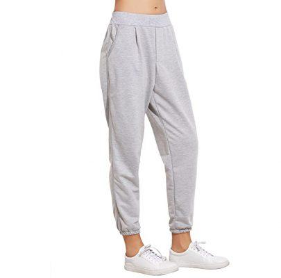 Women Fashion French Terry Jogger Pants Elastic Cuff Pocket Sweatpants Sportsfore
