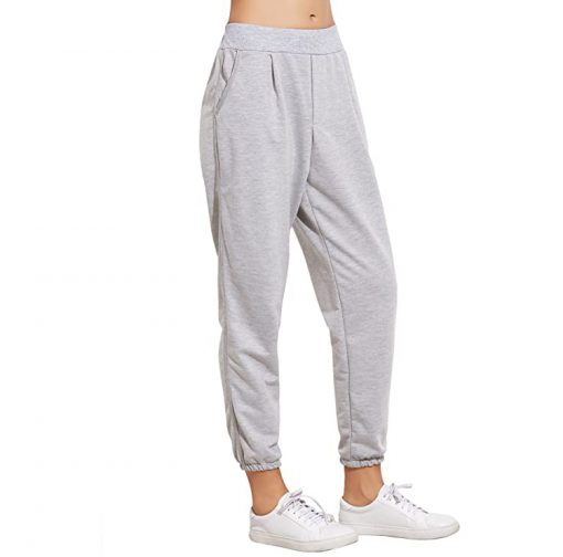 Women Fashion French Terry Jogger Pants Elastic Cuff Pocket Sweatpants Sportsfore