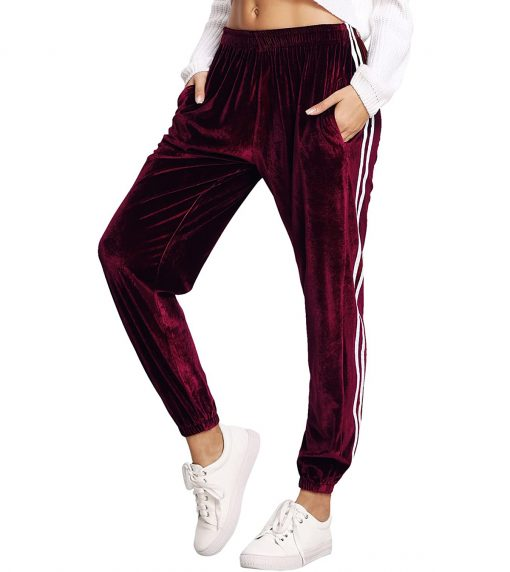 Women Velvet Fashion Drawstring Waist Casual Sports Workout Track Jogger Pants Sportsfore