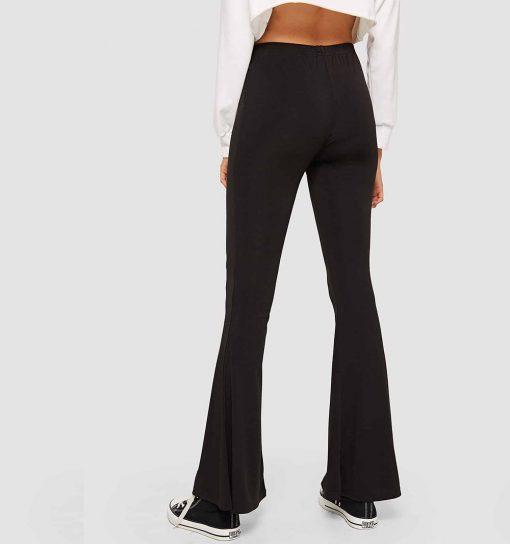 Women's Elastic Waist Solid Black Flare Leg Pants Sportsfore