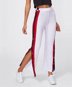 Women's Latest Fashion High Split Side Striped Buttons White Trouser Pants Sportsfore