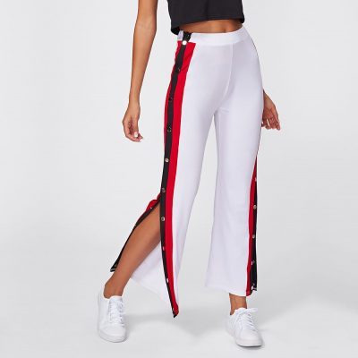 Women's Latest Fashion High Split Side Striped Buttons White Trouser Pants Sportsfore