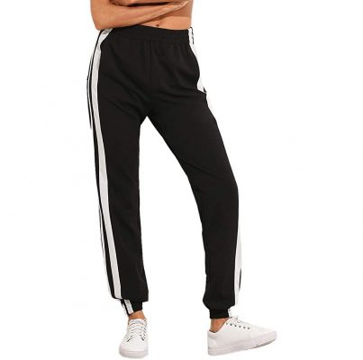Women's Sporty Fashion High Split Side Striped Pocket Joggers Snap Button Pants & Trousers Sportsfore