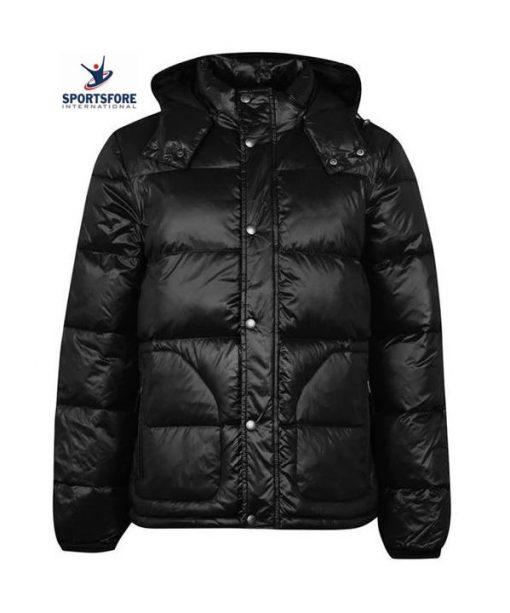 Shiny Wet Look Water-resistant Detachable Hood Puffer Jacket Coat for Men