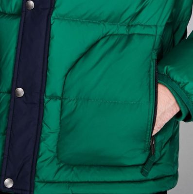 Latest Fashion Color Block Detachable Hood Water Resistant Down Filling Puffer Jacket for Men