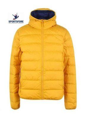Factory Custom Wholesale Mens Windproof Fixed hood Elasticated Trims Comfortable Fit Puffer Jacket