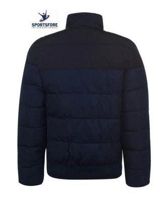 New Design High Neck Fold Down Collar Open Pockets Zip Fastening Long Sleeves Padded Track Puffer Jacket for Men