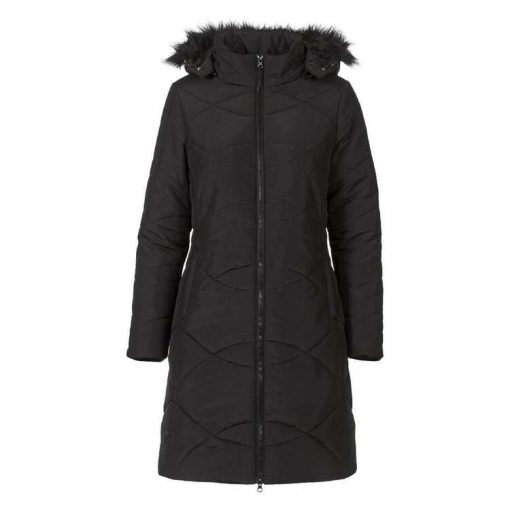Women's Longline Adjustable Removable Hood Faux Fur Trim Winter Puffer Jacket