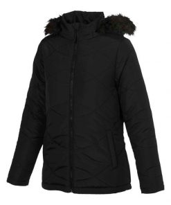 Black Puffer Jacket with Faux Fur Trim, 2 Pockets Removable Hood for Women